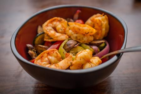 Caribbean grilled jumbo jerk shrimp with vegetables