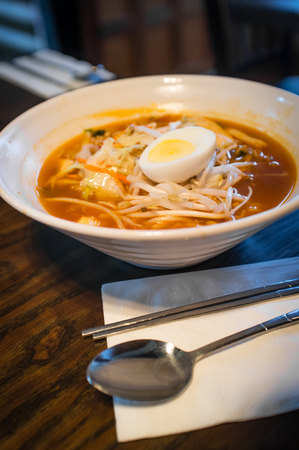 Spicy Korean ramen with mung bean sprouts and hard boiled egg