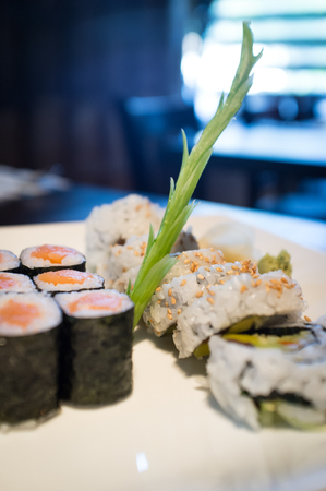 Japanese salmon sushi roll and vegetable roll with fancy asparagus Stock Photo