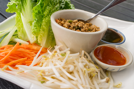 bean sprouts: Thai chicken lettuce wrap with mung bean sprouts