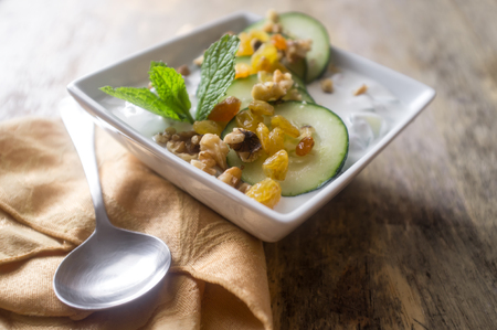 Summer refreshing chilled Persian cucumber yogurt soup