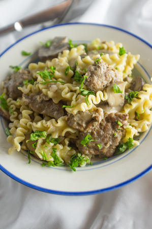 Healthy fillet chicken livers with gourmet mini lasagna pasta with a cream sauce Stock Photo