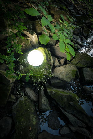 Bright glowing magic crystal ball in woods for fantasy imagery Stock Photo
