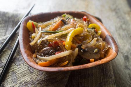 Korean Japchae vegetarian stir fried cellophane noodles with vegetables