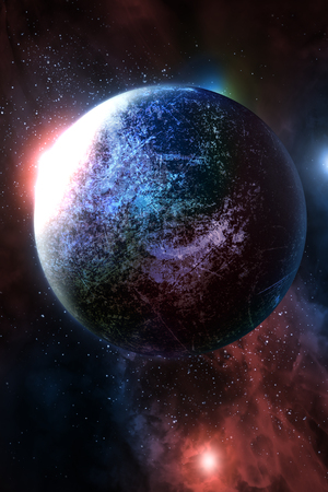 Alien planet solar system with stars in 3D illustration background