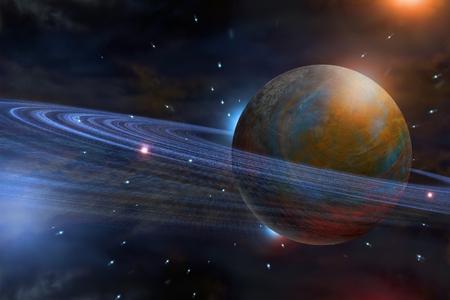 Sistema solar del planeta Saturno con estrellas en el fondo de la ilustración 3D