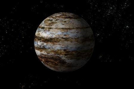 Jupiter planet solar system with stars in 3D illustration background