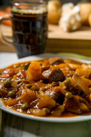 Authentic Irish beef stew with beer bread Stock Photo