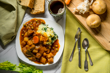 Authentic Irish beef stew with beer bread and colcannon mashed potatoes Stock Photo