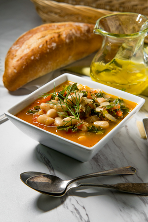 Italian Tuscan Ribollita bread and cannellini bean peasant soup with fennel Stok Fotoğraf