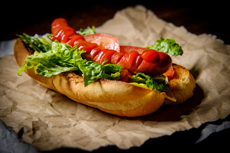 Fancy grilled hotdog with lettuce tomato American cheese and ketchup