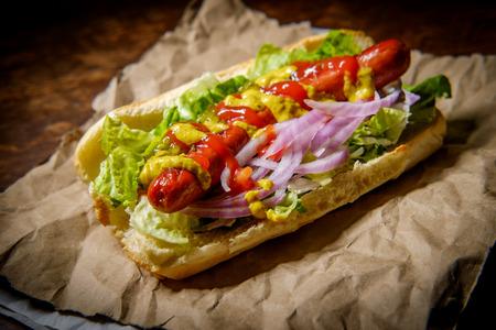 Fancy grilled hotdog
