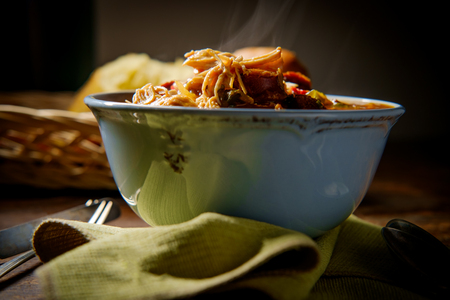 Spicy New Orleans chicken and andouille sausage Gumbo with fresh crusty bread Reklamní fotografie