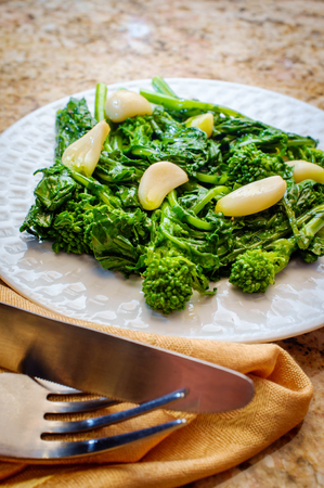 Sauteed broccoli rabe with sweet garlic garlic