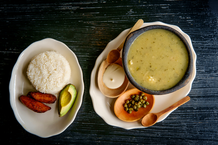 Colombian Ajiaco chicken potato and corn soup with capers