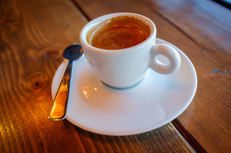 Rustic hot coffee classic espresso style for morning pick me up