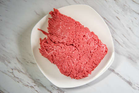 Ground beef meat for chili con carne recipe Stock Photo