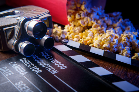 Movie theater popcorn with butter and blue backlighting Stok Fotoğraf