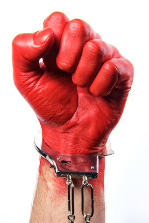 Caught red handed - hand painted red wearing handcuffs concept Stock fotó - 112361480