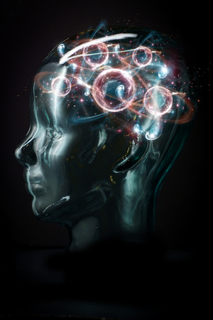 Glowing transparent cyborg face with atomic particle brain Banco de Imagens