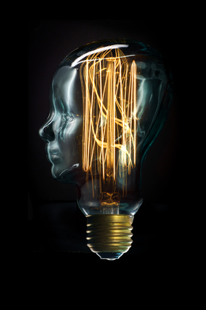 Edison lightbulb glass head for creative thoughts and ideas concept