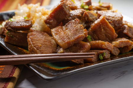 Authentic Korean stir-fried pork belly bokkeum bap