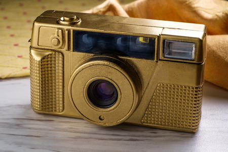 Luxury gold point and shoot vintage 35mm film camera