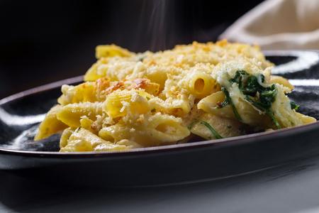 Poulet alfredo crémeux au four avec pâtes penne garnies de parmesan et mozzarella et chapelure panko