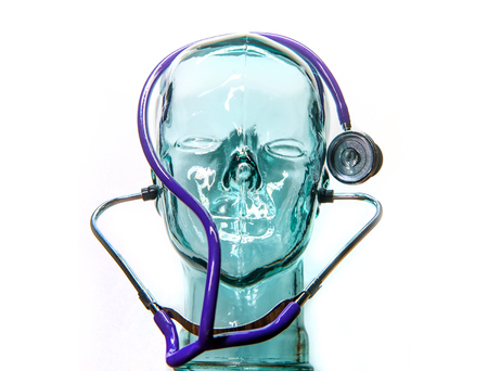 Robotic humanoid wears stethoscope for medical automation concept