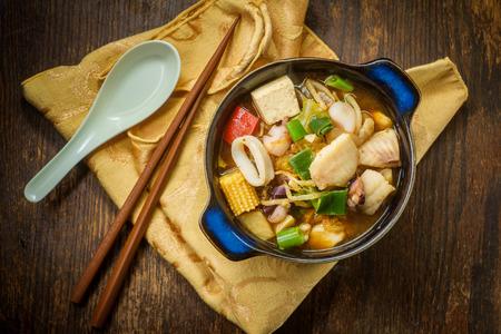 Korean seafood stew also called Haemul Jeongol with tofu tilapia octopus and calamari