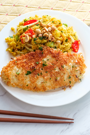 Coconut chicken with Thai pineapple fried rice
