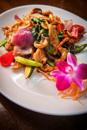 Phat kaphrao Thai basil chicken stir fried with Asian vegetables Stok Fotoğraf