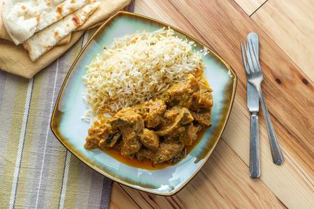 Authentic Indian goat korma curry with jasmine rice Zdjęcie Seryjne