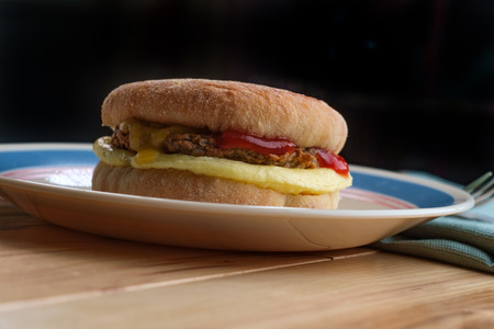 Sausage egg and cheese breakfast sandwich on and English muffin Reklamní fotografie