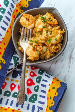 Creole bowl of seafood Jambalaya with shrimp and rice Stock Photo