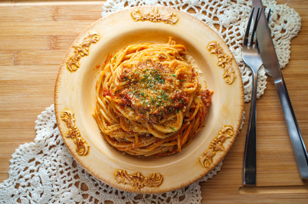Spaghetti Italian ragu alla Bolognese meat sauce with parmesan cheese Stock Photo