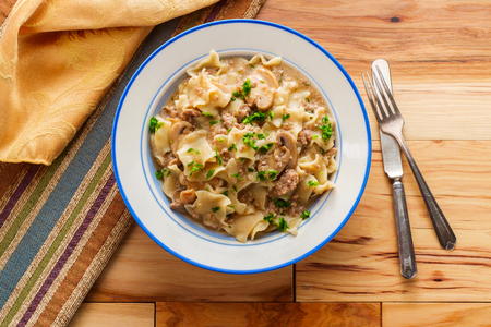 Creamy beef and mushroom stroganoff with egg noodles 写真素材
