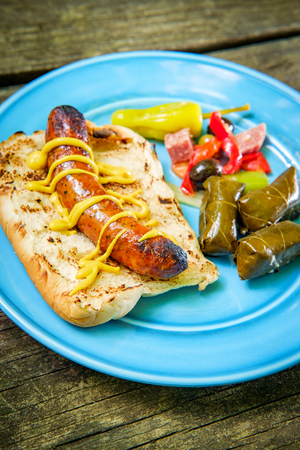 Grilled spicy Italian sausage on a bun with antipasto salad and stuffed grape leaves on picnic table in the forest