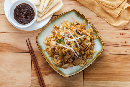 Chinese food Moo shu pork with Mandarin pancake wrappers and hoisin black bean dipping sauce