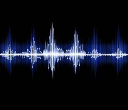 Fondo visivo dell'estratto dell'illustrazione 3D di concetto dell'onda sonora al neon visivo