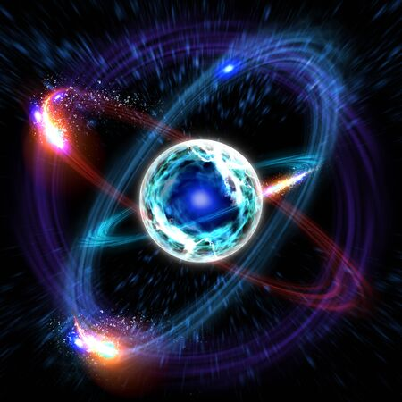 Close up of colorful atomic particle background science 3D illustration