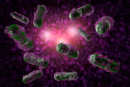 Escherichia coli also known as Ecoli bacteria in health science background 3D illustration