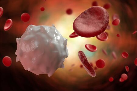 Healthy human red and white bloodcells macro science 3D illustration Stock Photo