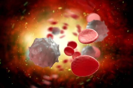 Healthy human red and white bloodcells macro science 3D illustration 写真素材