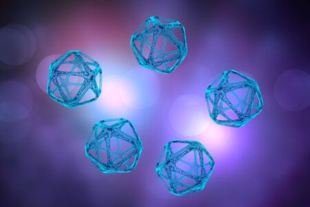 Abstract DNA molecule or atom particle 3D illustration