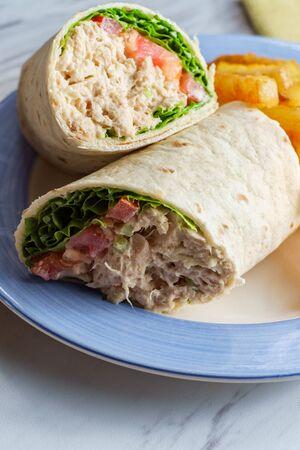 Tuna salad wrap sandwich with french fried potatoes