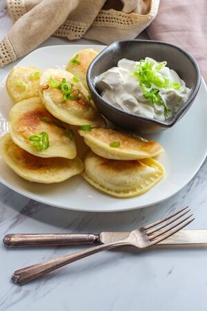 Delicious authentic Polish pierogies with chopped green onion and sour cream Imagens