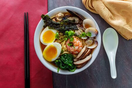 Jjamppong Korean kombu broth seafood ramen with squid clams mussels soft-boiled egg and shrimp