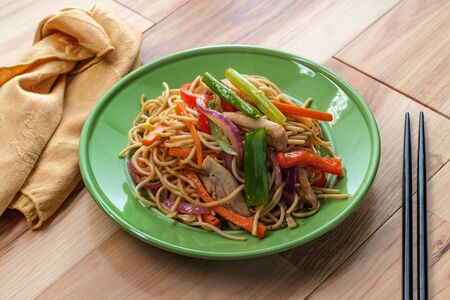 Indian stir fried chow mein Hakka noodles with chicken