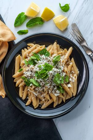 Greek halloumi cheese pasta with mint and lemon juice
